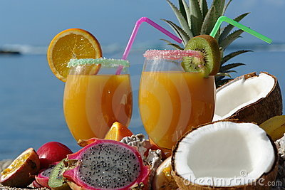 Fruit juice on the beach