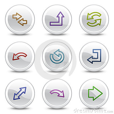 Arrows web colour icons, white circle buttons
