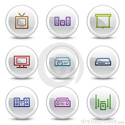 Audio video web colour icons, white circle buttons
