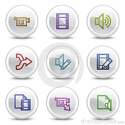 Audio video edit web colour icons, circle buttons