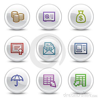 Banking web colour icons, white circle buttons