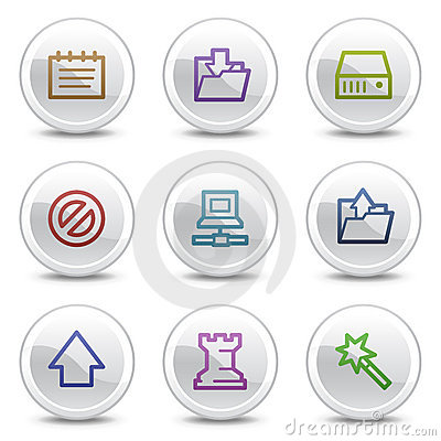 Data web colour icons, white circle buttons