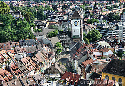 View on a city tower of Freiburg