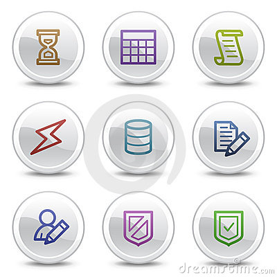 Database web colour icons, white circle buttons