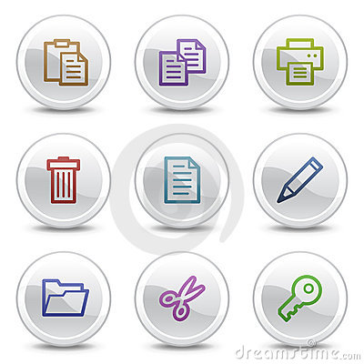 Document web colour icons, white circle buttons
