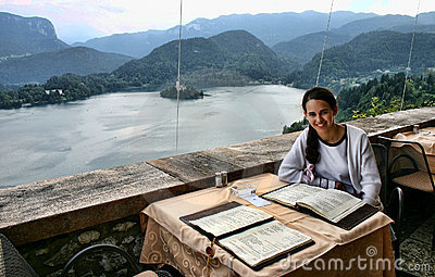 Woman in the restaurant of Castle Bled