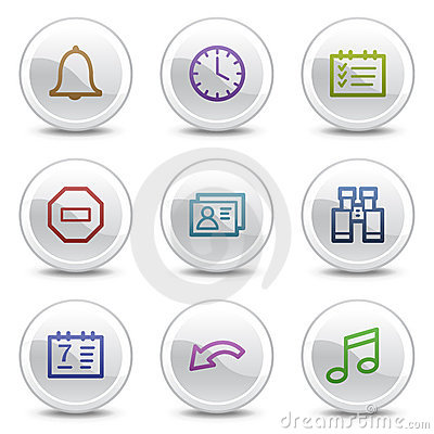 Organizer web colour icons, white circle buttons