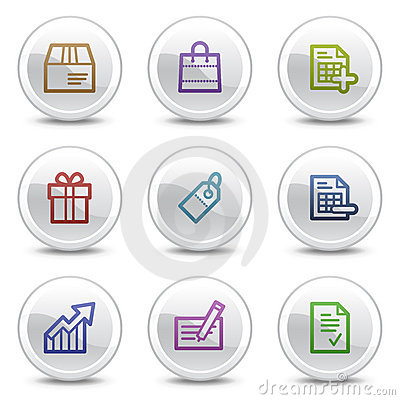 Shopping web colour icons, white circle buttons