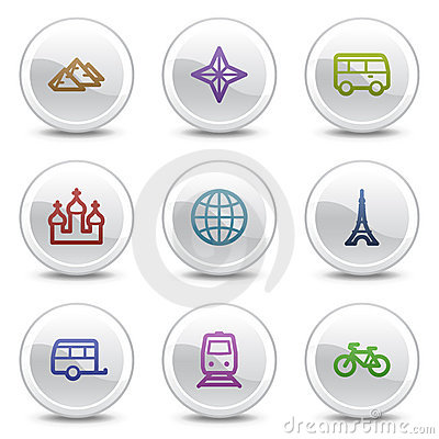 Travel web colour icons set 2, circle buttons