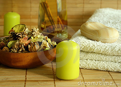 Towel, soap, candle and natural herbal ingredient.