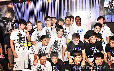 Kobe Bryant with Singapore Youth basketball team