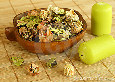 Natural herbal ingredient in wooden bowl and