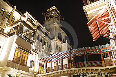 Traditional Malaysian Buildings at Night