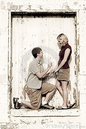 Proposal in grunge doorway