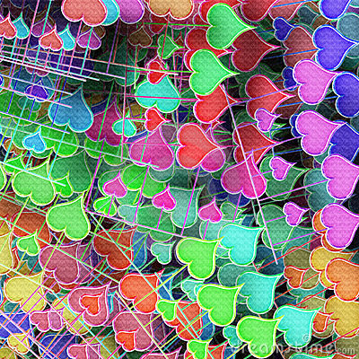 Varicoloured hearts