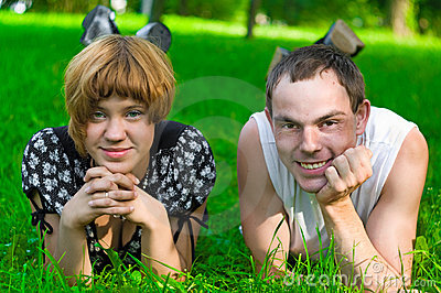 Teens on grass