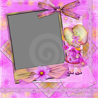 Violet frame with the girl and florets