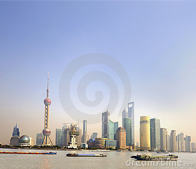 Ships at sunset on the Huangpu River in Shanghai