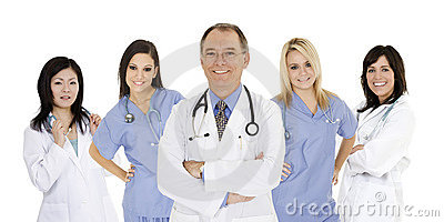 Group of confident doctors and nurses with their arms crossed displaying some attitude isolated on white background