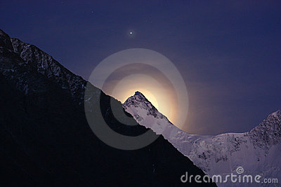 Mountain, star and moon halo
