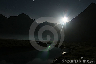 Night moon and river