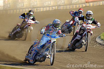 Speedway riders on the track in Poznan