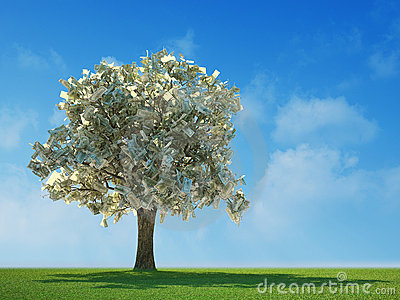 100 dollar bills growing on a tree