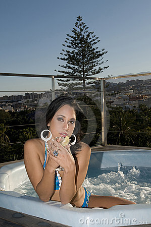 Woman having relax in open jacuzzi