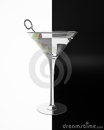 Martini on black and white