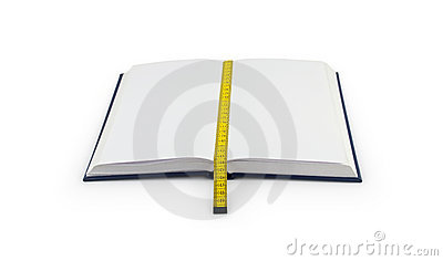 Notebook with bookmark made of tape measure