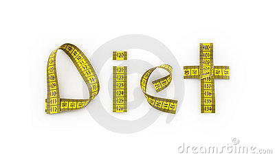 Diet written with tape measure