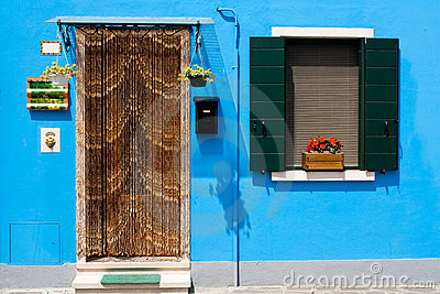 summer colourful house with door and window