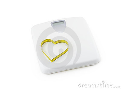 Scale and heart made of tape measure