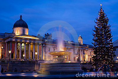 Trafalgar square in christmas with christmas tree
