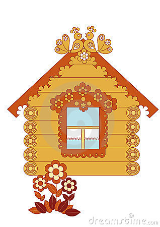 Drawn wooden house on a white background