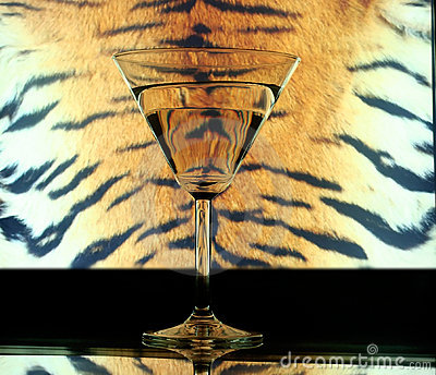 Glass on tiger skin