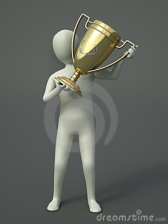 Character holding a trophy cup