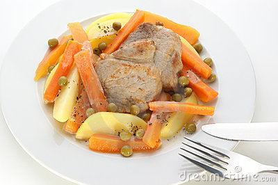 Potato with carrot and pork chops
