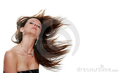 Brunette woman with her hair blowing