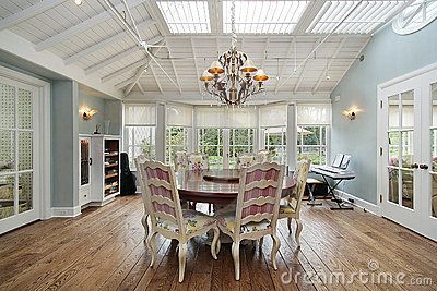 Eating area with skylights