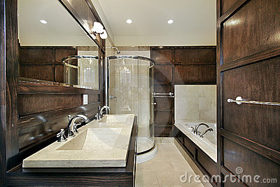 Master bath with wood paneling