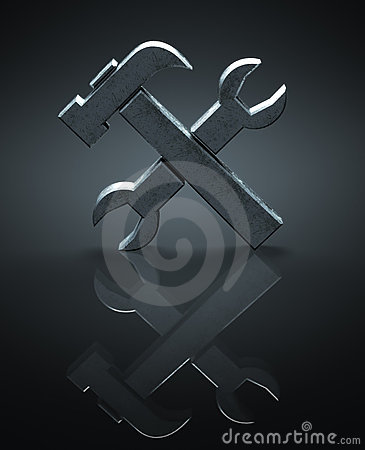 Hammer and wrench symbol