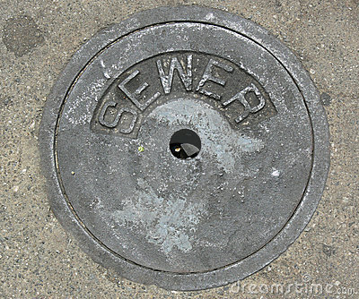 Sewer Drain Pipe in Street