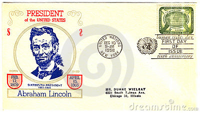 Envelope with president of The USA Abraham Lincoln