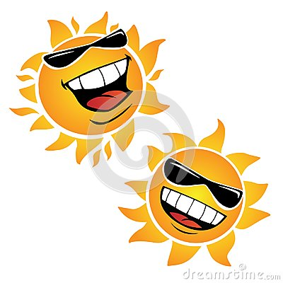 Bright Smiling Happy Sun Cartoon Vector Illustrations