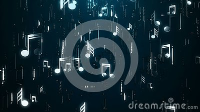 White music notes. Abstract background. Digital illustration