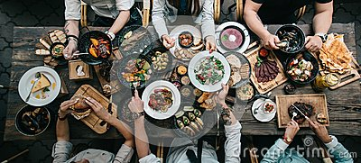 stock image of wooden table with food, top view