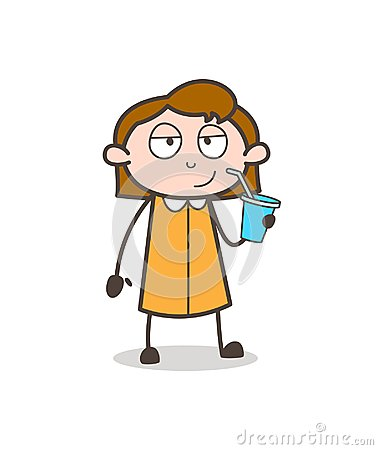 Thirsty Girl Drinking Energy Drink Vector