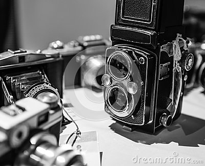 Old Vintage Retro Cameras in Black and White