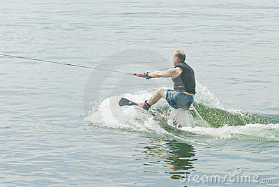 Wakeboard Competitor Starting His Routine
